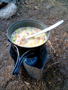 our ultralight stove and cookpot in action