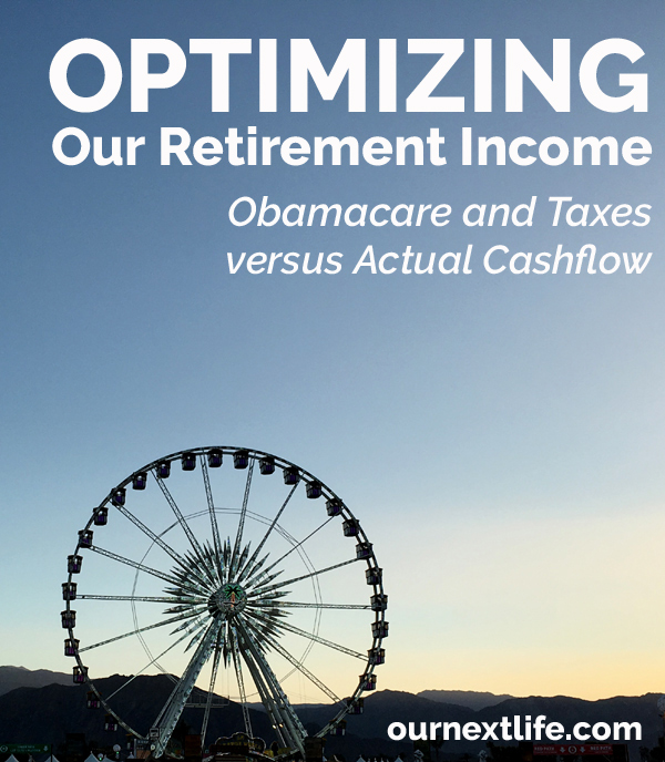 OurNextLife.com // Optimizing Retirement Income -- Obamacare/ACA and Taxes versus Actual Cashflow