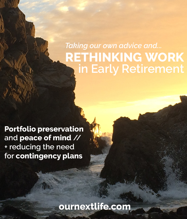 OurNextLife.com // Early Retirement and Financial Independence Blog | Working in Early Retirement | Portfolio Preservation | Increasing the Odds of Early Retirement Success | Reducing the Need for Contingency Plans | Peace of Mind