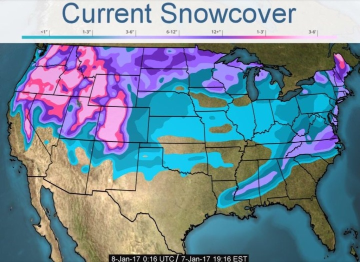 Current snowcover in the U.S., with lots of snow in the mountain west.