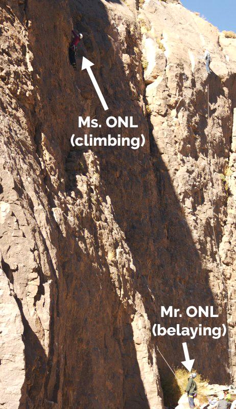 Ms. ONL rock climbing, Mr. ONL belaying